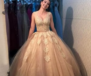 dress, fashion, and champagne dresses image