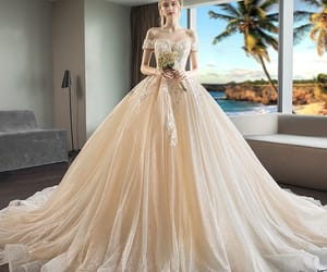 ball gown, off-the-shoulder, and appliques lace image