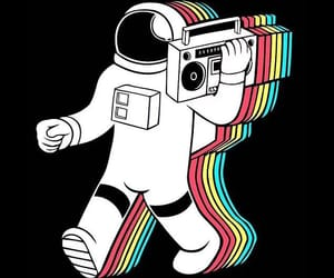 astronaut, music, and black image