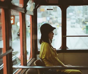 bus, girl, and hat image