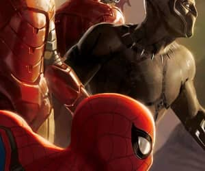 black panther, iron man, and Marvel image