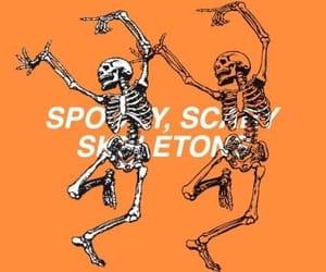 orange, skeleton, and Halloween image