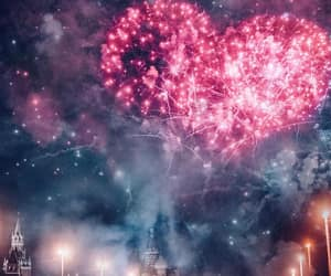 heart, fireworks, and lights image