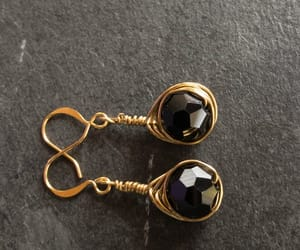 black jewelry, stundearrings, and black gold earrings image