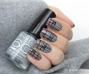 nails, grey, and red image