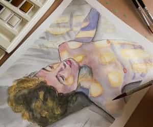 actor, draw, and watercolor image
