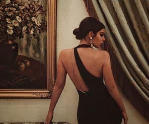 backless dress, black dress, and fashion image