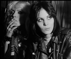 joan jett, debbie harry, and black and white image