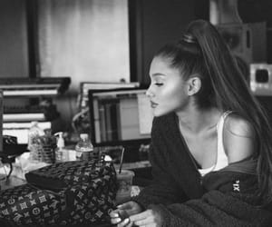 black and white, woman, and ariana image