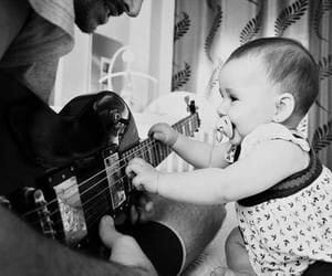 baby, guitar, and black and white image
