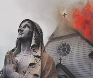church, fire, and grunge image