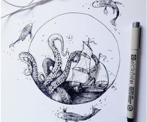 drawing, art, and sea image