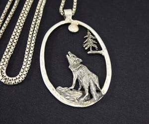 coyote, silver, and pendant necklace image