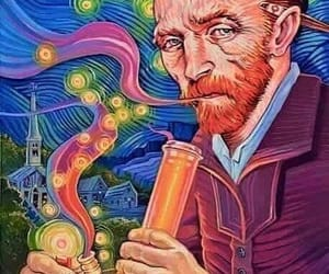 art, van gogh, and bong image