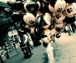 balloons, mickey, and mickey mouse image