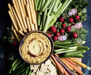 carrot, healthy, and hummus image