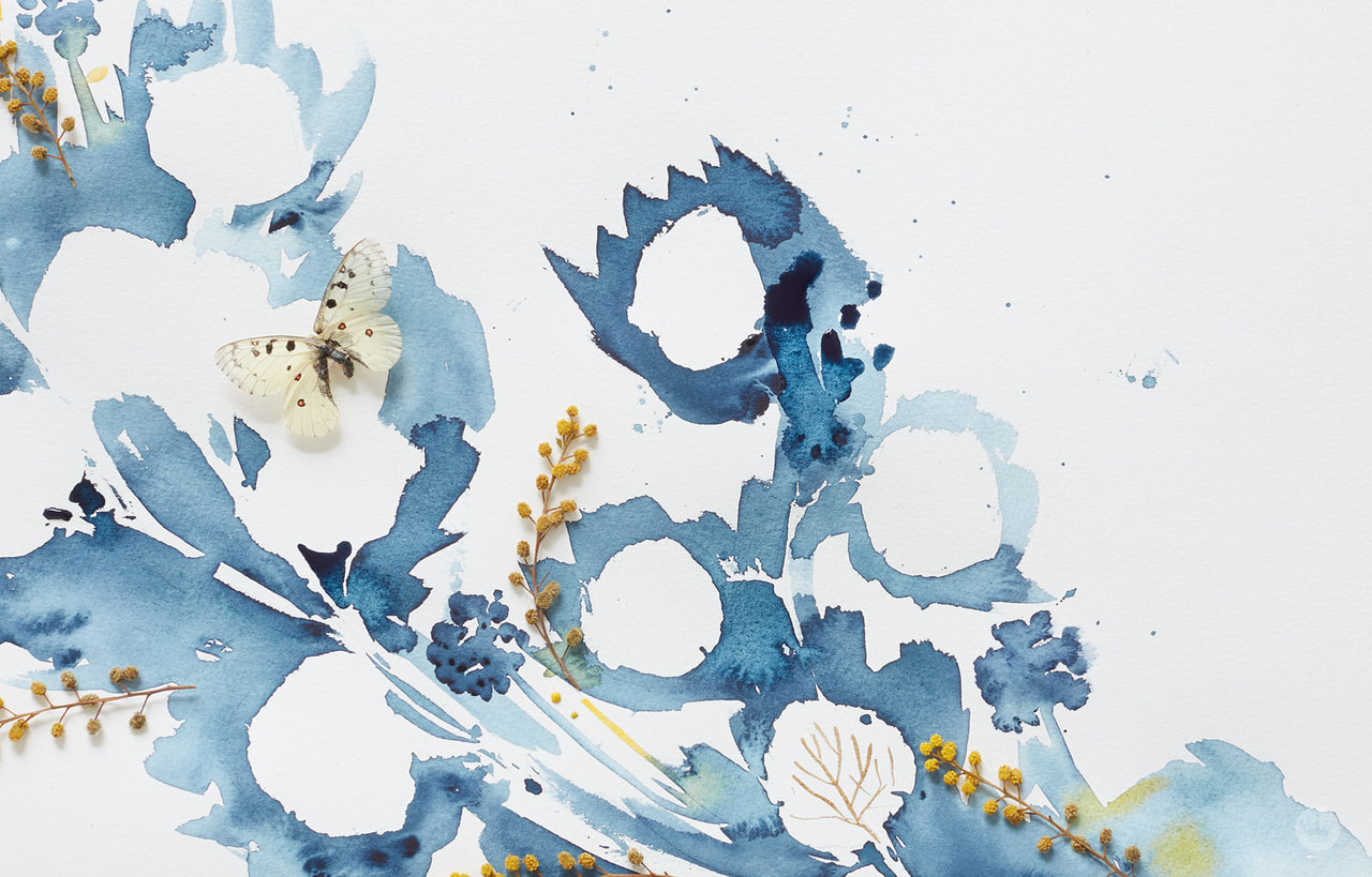 acuarela, blue, and gold image