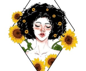 sunflower, girl, and yellow image