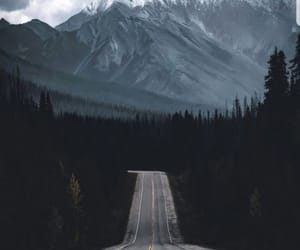 road, forest, and mountains image