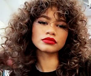 curls, fashion, and red lip image