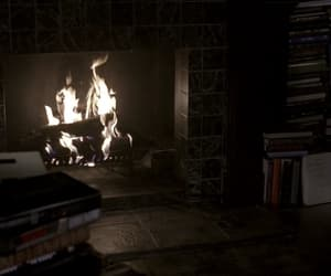 books, dark, and fireplace image