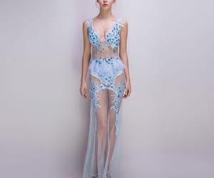 beading, evening dress, and sky blue dress image