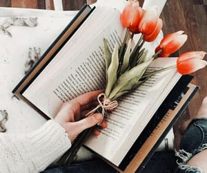 book, flowers, and tulips image