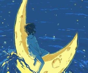 art, moon, and anime image