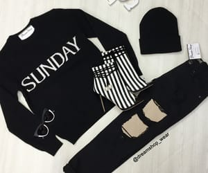 black, outfit, and stripes image