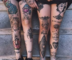 ink, inked, and leg tattoo image
