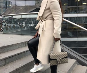shoes sneakers, fashion style, and manteau beige image