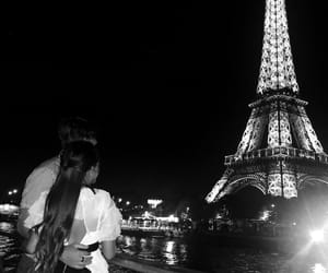 black and white, couple, and eiffel tower image