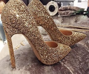 gold, shoes, and glitter image