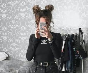 adidas, bun, and double image