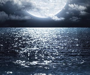 moon, night, and sea image