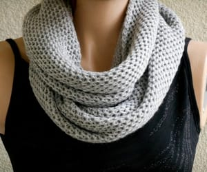 etsy, circle scarf, and grey scarf image