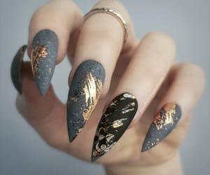 gold, gray, and nails image