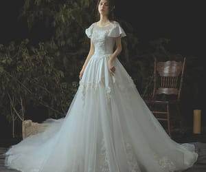 scoop neck, lace appliques, and a-line princess image