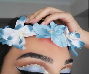makeup, blue, and flowers image