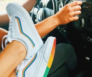 shoes, vans, and rainbow image