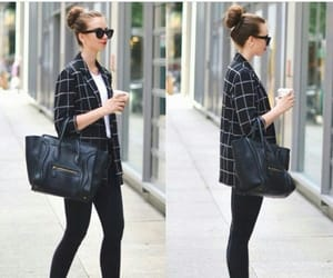 bun, heels, and outfit image