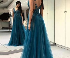 a-line prom dress, open back prom dress, and evening dresses long image