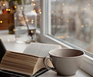 book, coffee, and winter image