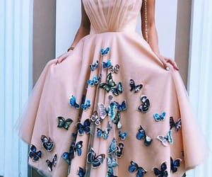 butterfly, pink, and dress image