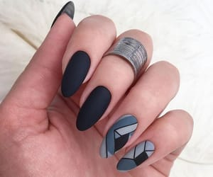 beauty, black nails, and finger image