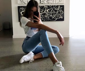 jeans, outfit, and selfie image