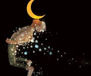 boy, moon, and night sky image