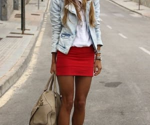 heels, jeans jacket, and outfit image