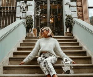 fashion, street style, and fluffy sweater image