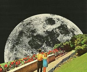 moon, girl, and love image
